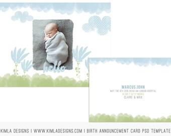 7x5in Birth Announcement Card PSD Template
