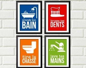 Décoration salle de bain, enfant décor, décoration maison, home decor, affiches pour salle de bain, french home decor