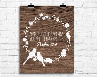 And under his wings you will find refuge, psalms art print, bible verse art, home decor, rustic country living room decor, birds poster