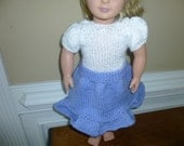 """Spring/Summer Dress - American Girl/18""""   - Lilac and White - Hand Knit"""