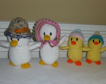 Eastser Duck Family - Chicks - Soft Toys - Plush - Baby Gift - Hand Knitted