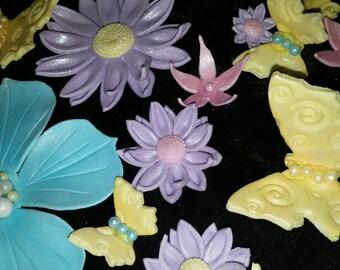 Set of 60 Edible FLOWERS/BUTTERFLIES gum paste/fondant /cake decoration /cupcake topper