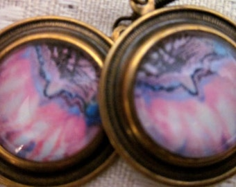 DANGLE EARRINGS - Domed Glass Over Print of the Painting The Queens Echinacea on Bronze Plate