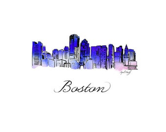 Boston Skyline Watercolor Print | Wall Art, Boston MA, Modern gift, Illustration, Photo, Art Print, Sky, City, Massachusetts, Capital Art