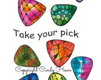 Digital art, guitar picks, Zentangle art, Zentangle guitar picks, flat picks, flat picking picks, take your pick