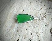 Sterling Silver and Genuine Green Sea Glass Necklace