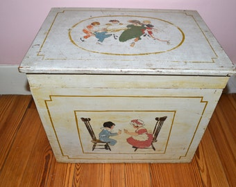 1920s Antique Wooden Hand Painted Toy Chest  with Scenes of Edwardian Children Playing   - VT29