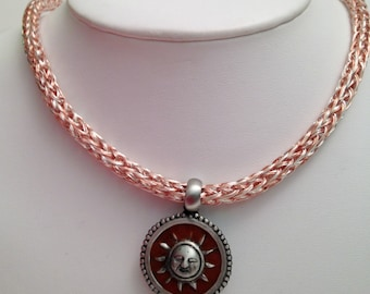 Viking knit necklace, copper and silver unisex woven wirework necklace