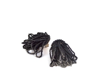 Vintage Clip On Earrings, Black Multi-Beaded Dangle Earrings