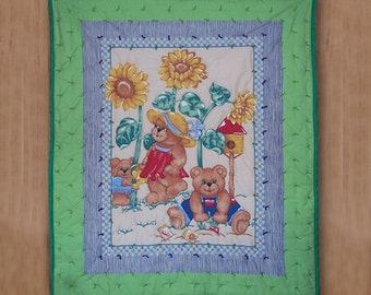 SALE Gardening Bears and Sunflowers Boy or Girl Quilt