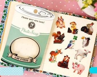 Japanese Photo Soup transparent sticker flake seal 70 pieces - Animal