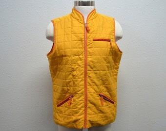Yellow Vest, Puffy Vest, Men's Vest, Women's Vest, Ladies' Vest, Unisex Vest, Christopher and Banks, Vintage Vest, Size Medium