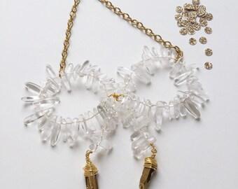 quartz crystal | bow tie necklace | wrapped gold quartz points | handmade jewelry | natural stone necklace | quartz necklace | Mother's Day