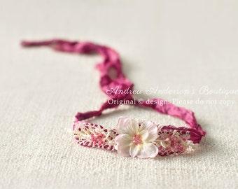 Newborn Flower Tieback. Baby Flower Tieback. Newborn Baby to Adult Tieback Halo Headband. Floral Tie back. RTS Photography Prop. UK SELLER