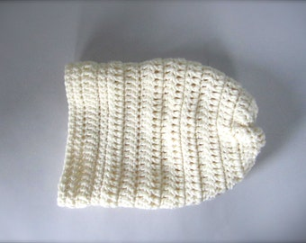 Crochet Ivory, Off White, Winter White, Cream Handmade Slouchy Hat, Beanie Hat, Adult Hat
