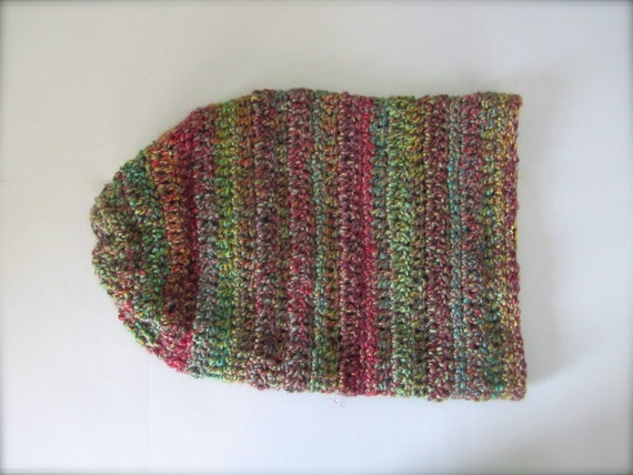 Crochet Rusty Red, Orange, Teal, Gold, Purple, Green, Chartreuse, Turquoise Slouchy Hat, Beanie Hat