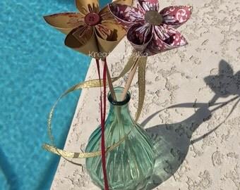 PAPER FLOWER WAND / origami flowers / flower girl / wedding decorations / flower wand / paper flowers / paper bouquet / wedding bouquet