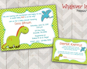 Dinosaur Baby Shower Invitation with Diaper Raffle