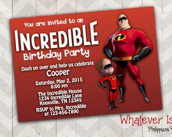 The Incredibles Birthday Printable Invitation