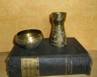 Vintage Brass Candle Holder and Bowl - Engraved Brass Candle holder and Bowl - Office Decor