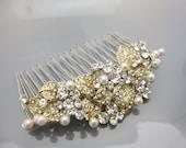Wedding hair accessories Gold,Bridal hair comb pearl,Gold Wedding hair jewelry,Bridal hair piece,Wedding hair comb vintage gold,Wedding comb