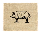 Pig Cuts Unframed Wall Decor, Vintage Pig Cuts, Animal, Butcher, Burlap art print