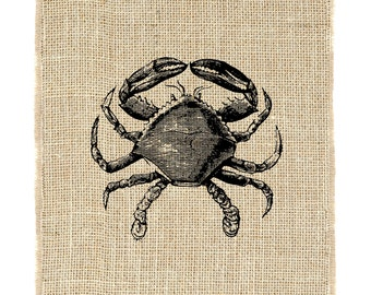 Crab Unframed, Crap Print, Burlap Prints, Great for Maryland, Burlap, Nautical, Summer Home