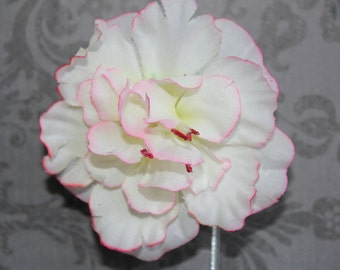 White Flower Hair Clip with Red/Pink Accents