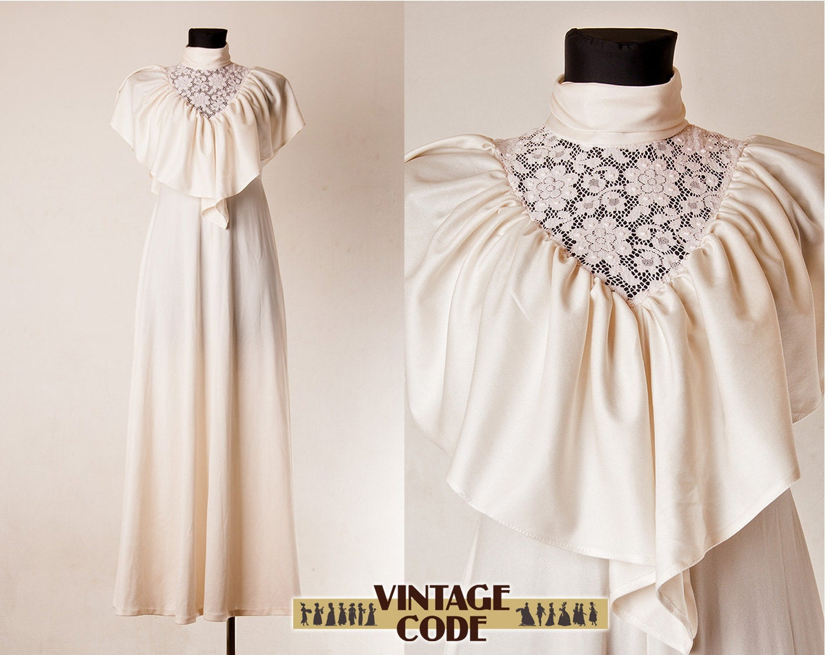 Cream White Wedding Dress with Lace Bib Capelet pink lace