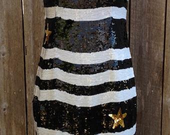 Authentic Caché Vintage Black & White Sequin Stars Striped Party Dress Size 8