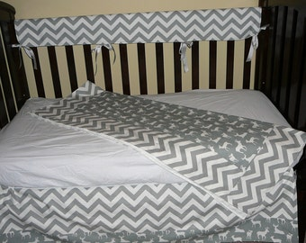 Bumperless Deer Silhouette/Chevron Crib Set