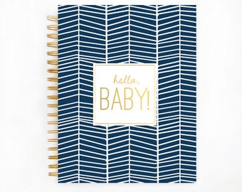 Baby Book, NAVY HERRINGBONE,  Baby Memory  Book, Personalized Baby Book,  Baby Books, The Sweet Rhino
