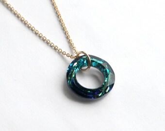 Swarovski Cosmic Ring Necklace, Bermuda Blue Pendant, Gold Filled Cosmic Ring, Swarovski Crystal Necklace