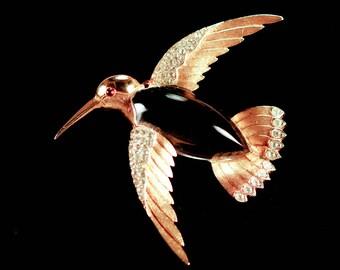 Trifari Hummingbird Brooch Jelly Belly Signed Alfred Phillipe