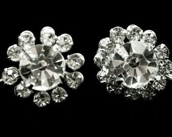 Coro Rhinestone Earrings Screw back Signed
