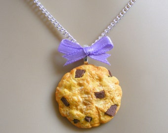 Food Jewelry, Choc Chip Cookie Necklace, Miniature Cookie, Miniature Food, Mini Food Pendant, Mini Food Jewelry, Kawaii Jewelry, Food Charm