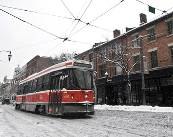 TTC 504 Streetcar Snowy Toronto Streets: Canada - Travel Photography [Urban Art, Red Rocket, Black White Red, Winter Queen St West]