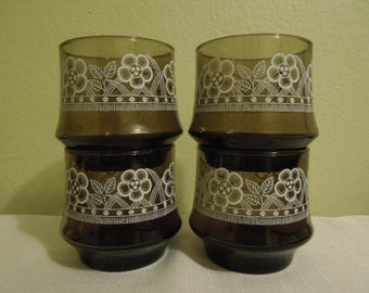 Vintage Brown Glass White Flowers Circa 1970s Libby Flower Power