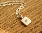 Ready to Ship Moissanite Silver Pendant, Flush Set White Gemstone, 16 inch Rope Chain, Recycled, Eco, Ethical, UK Handmade