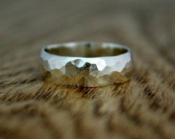 Textured Court Ring, Sterling Silver, Wedding Band, Engagement, Recycled Silver, Ethical, Eco, Ready to Ship UK Size H 1/2