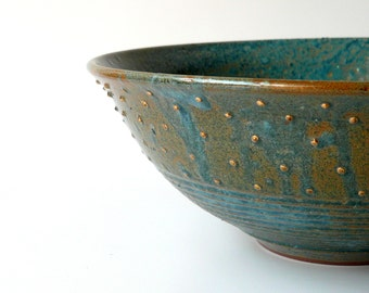 Rustic Ceramic Serving Bowl in Variegated Blue and  with Gold Dots, Christmas Gift, Mother's Day Gift by Cecilia Lind, StudioLind