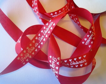 "Dia De San Valentin Satin Ribbon Trim, Red / White, 7/8"" inch wide, 1 yard, For Scrapbook, Decor, Accessories, Mixed Media"