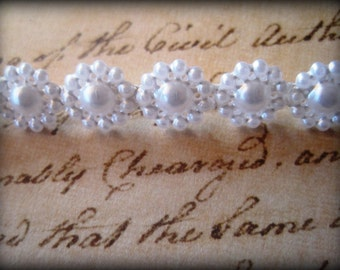 """Daisy Pearl Trim Pack of 72"""" inches, White, 3/8"""" inch wide, 2 Yards, For Bridal, Apparel, Home Decor, Accessories, Scrapbook, Mixed Media"""
