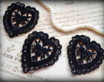 Venice Lace Hearts Applique, Black, x 3, For Bridal, Apparel, Accessories, Costumes, Mixed Media