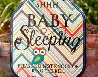 CUSTOM - Baby & Mama Sleeping Sign, Baby Sleeping Sign, do no knock, do not ring the bell, babies sleeping 9 x 7