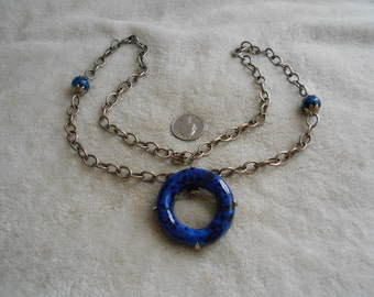 Vintage Necklace-Blue Speckled Pendant-Pin-N1472