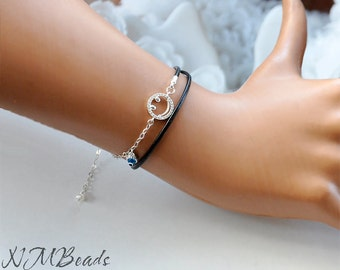 Zircon Smiley Face Bracelet Black Leather And Chain Double Wrap Evil Eye Sterling Silver Happiness Symbol Jewelry Teenage Gift For Her