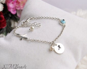 Initial Charm Children Bracelet With Blue Evil Eye And Tiny Cross, Sterling Silver, Baby Kids Girl Jewelry, Personalized Custom Hand Stamped