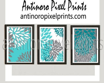 Floral Digital Posters Turquoise Teal Grey Wall Art Vintage / Modern Inspired -Set of (3) - 16x20 Prints -  (UNFRAMED)
