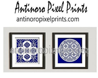 Bright Navy White Damask  Art Prints Collection  -Set of (2) -12x12Prints - (UNFRAMED) Custom Colors Available